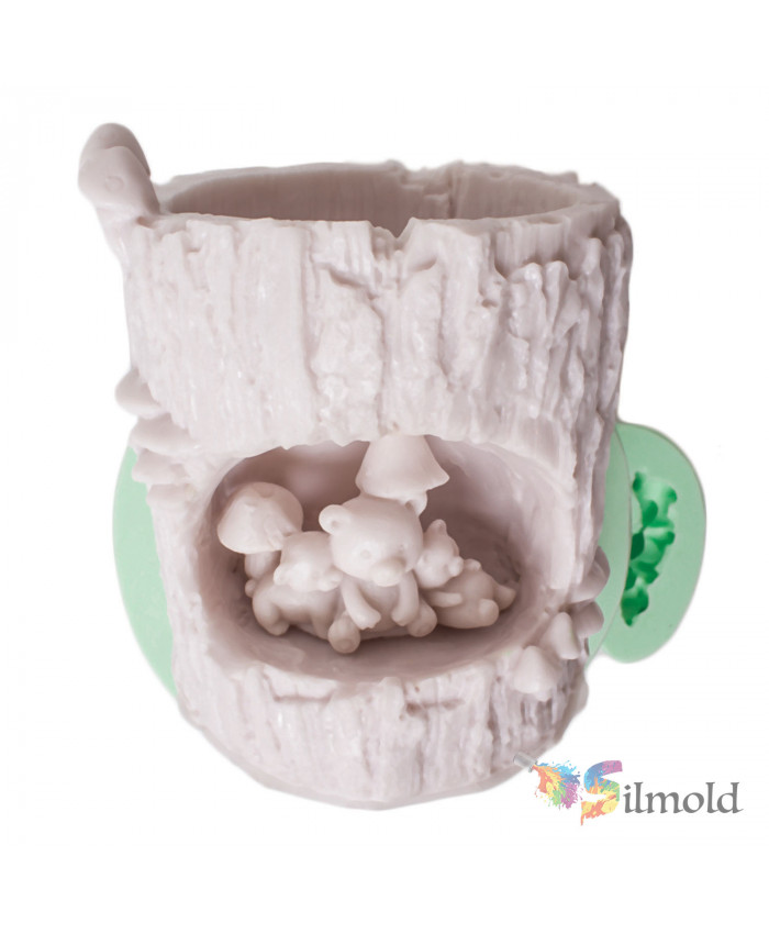 Billet with a Teddy Bear Flowerpot Silicone Mold