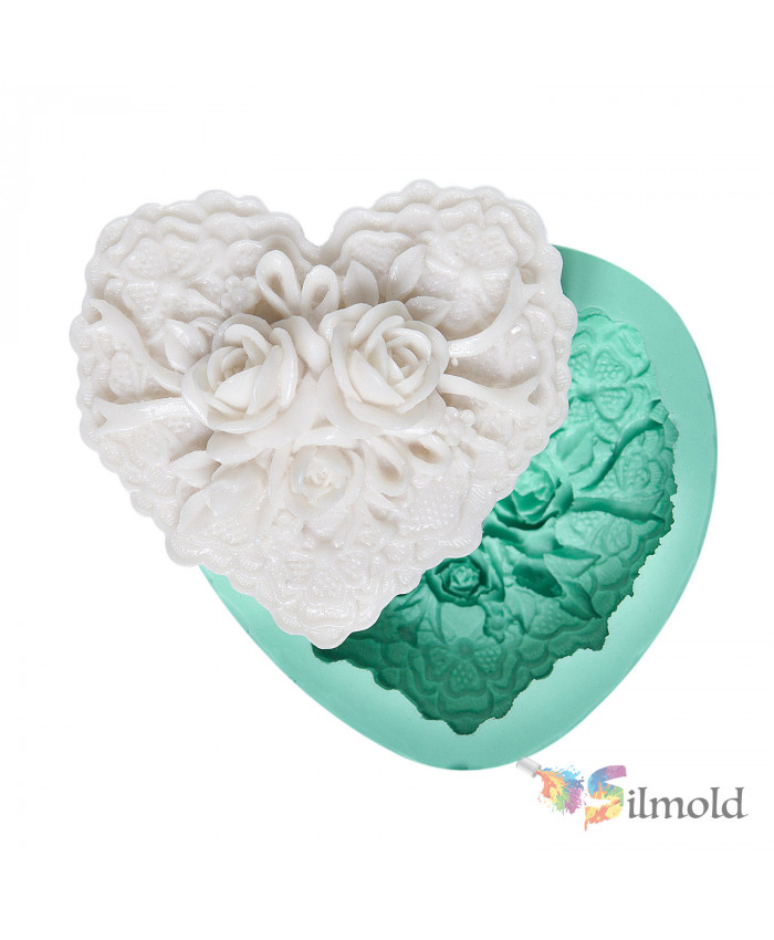 Lace-embroidered Rosy Heart Silicone Mold