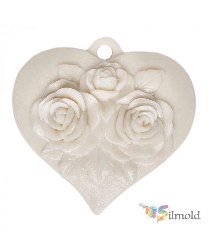 Heart with Roses Paintable Resin Object
