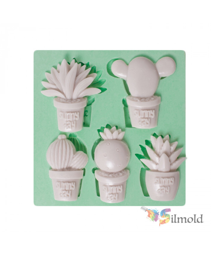 ''Sunny Day'' Cactuses (five) Silicone Mold