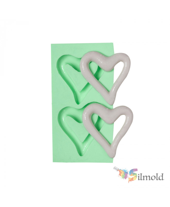 A Couple of Hollow Frame (shaped liked Hearts) Silicone Mold