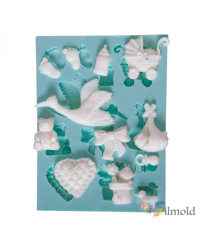 Babys Things and a White Stork Silicone Mold