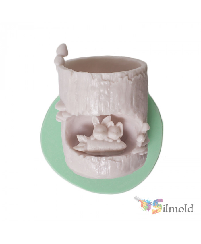 Billet with Rabbits Flowerpot Silicone Mold
