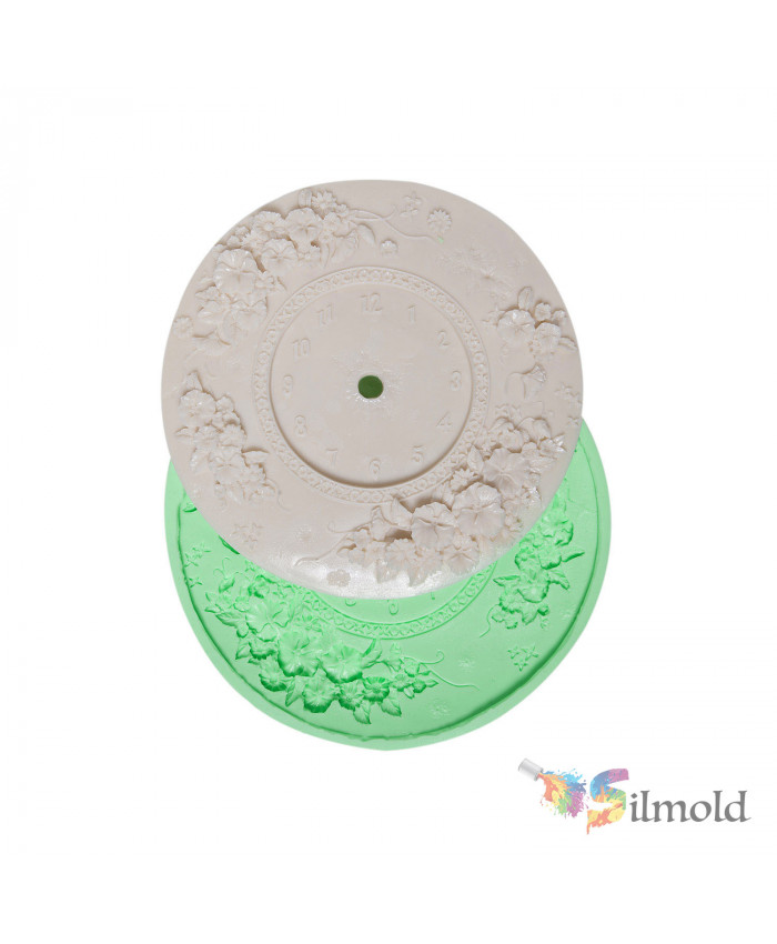 Flowered Round Clock Silicone Mold