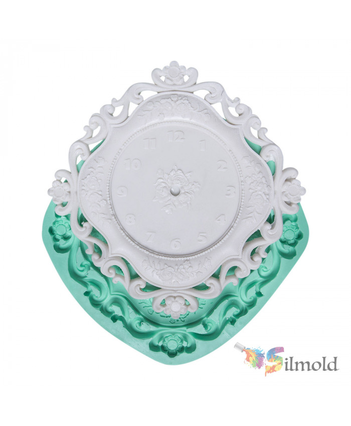 Flowered Square Clock Silicone Mold