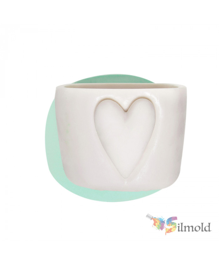 Flowerpot with Heart (big) Silicone Mold