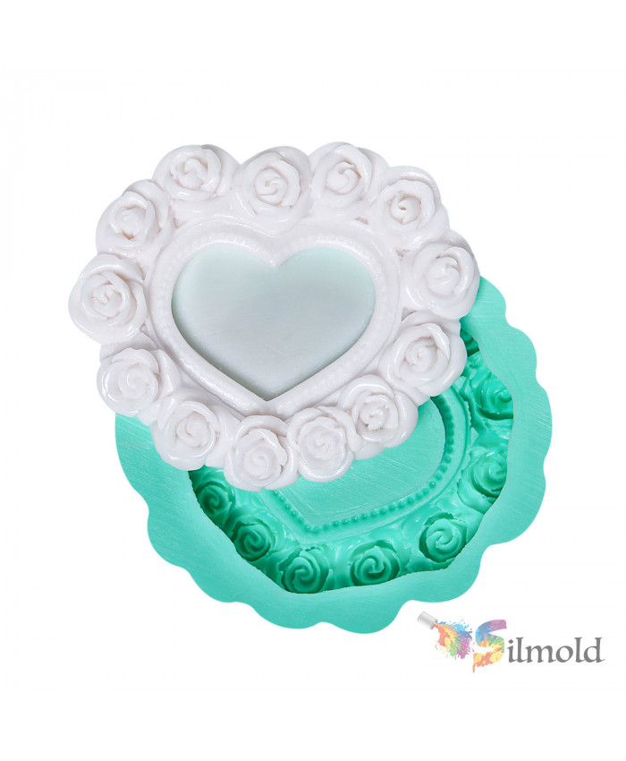 Frame shaped like a Heart with Roses (small) Silicone Mold