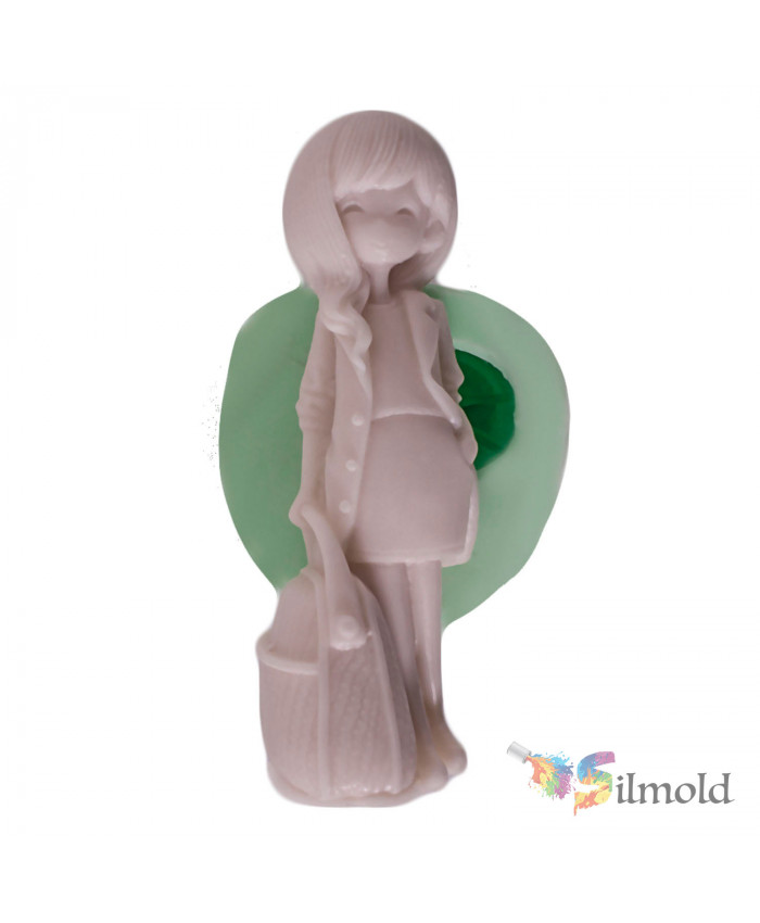 Girl with Wavy Hair Silicone Mold