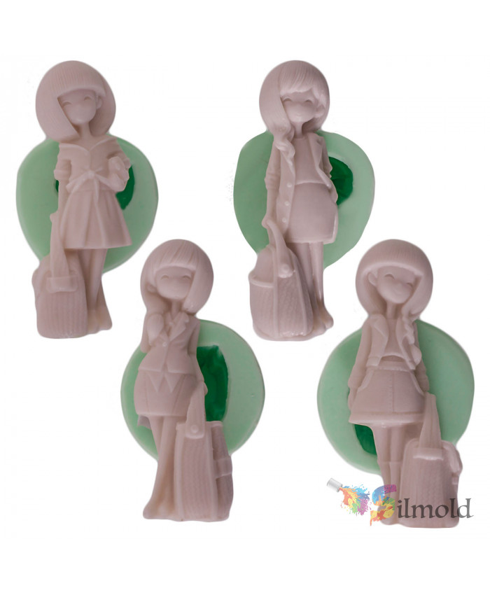 Girls with Wavy Hair (quad) Silicone Mold