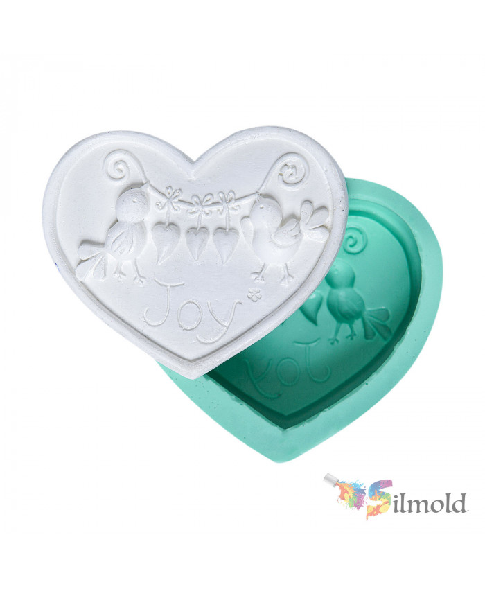 Heart with Birds Silicone Mold