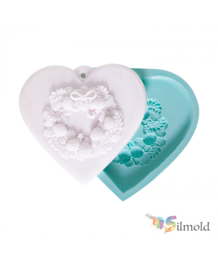 Heart with Wreath (perforated) Silicone Mold