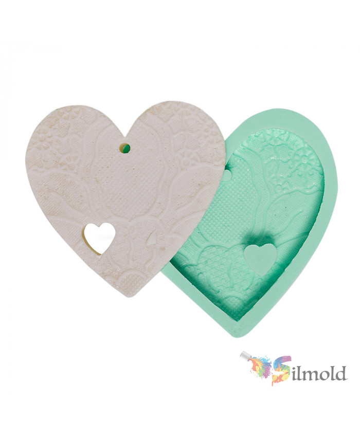 Heart-detailed and Lace-embroidered (perforated) Silicone Mold