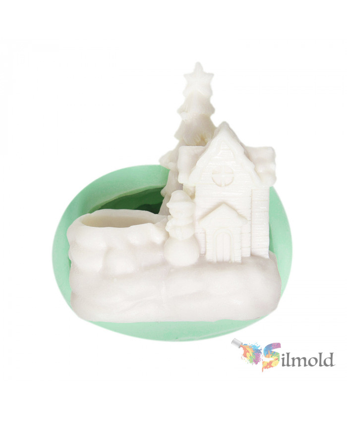House Candleholder Silicone Mold