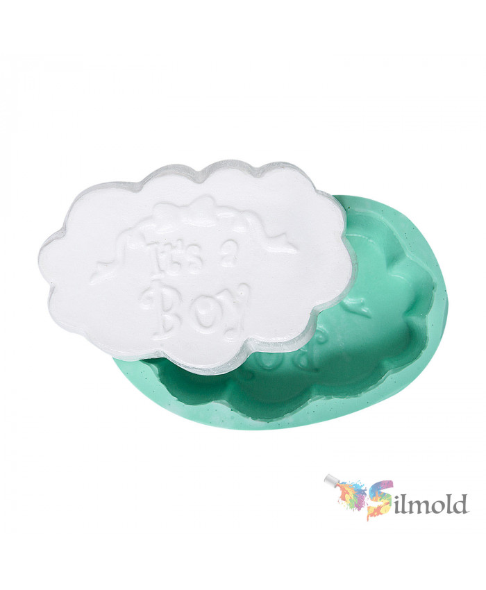 ''It's a Boy'' written on Cloud Silicone Mold