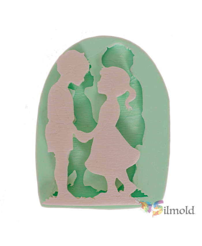 Kids Taking Each Other by the Hand Silicone Mold