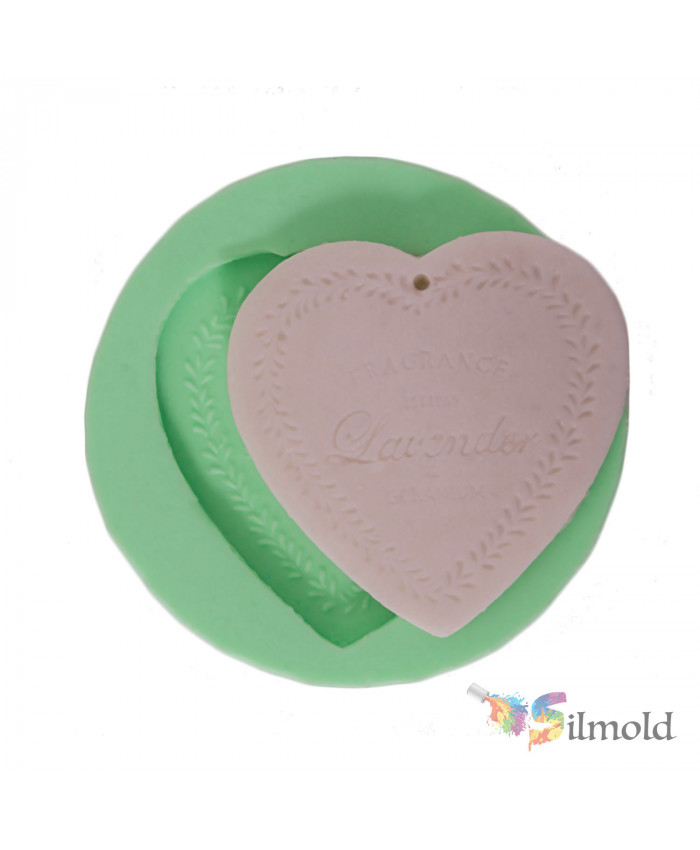 Lavender-embroidered Heart Silicone Mold