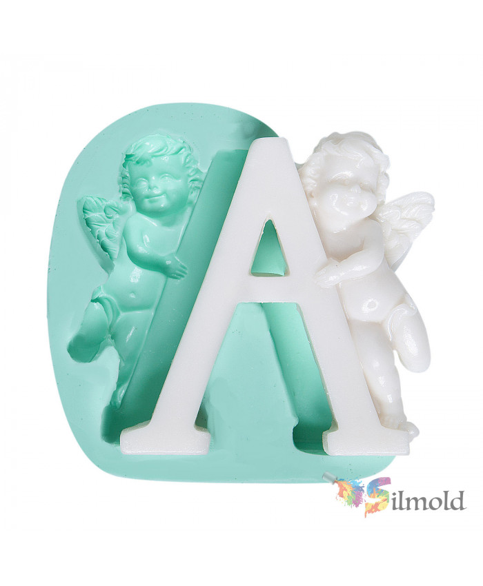 Letter ''A'' with an Angel (big) Silicone Mold