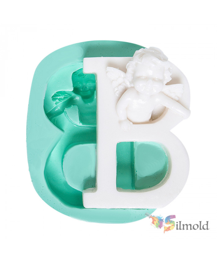 Letter ''B'' with an Angel (big) Silicone Mold