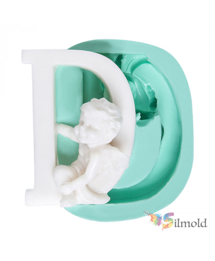 Letter ''D'' with an Angel (big) Silicone Mold