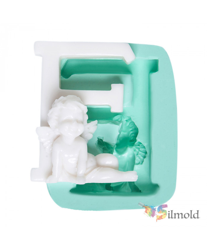 Letter ''F'' with an Angel (big) Silicone Mold