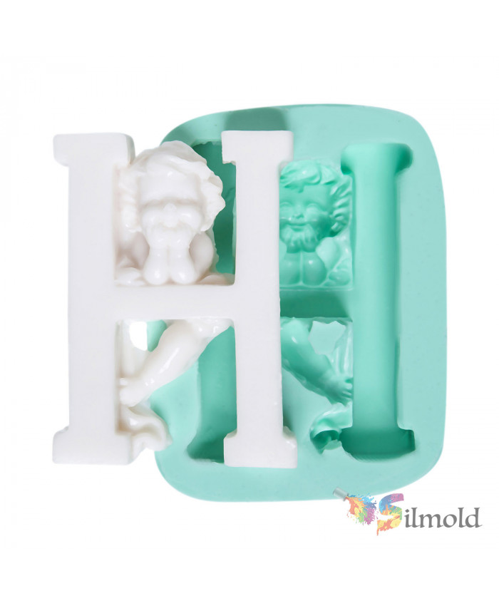 Letter ''H'' with an Angel (big) Silicone Mold