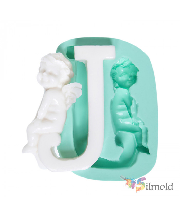 Letter ''J'' with an Angel (big) Silicone Mold