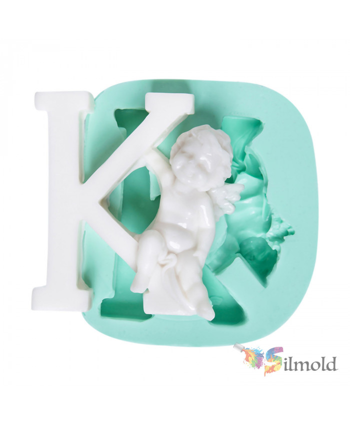 Letter ''K'' with an Angel (big) Silicone Mold