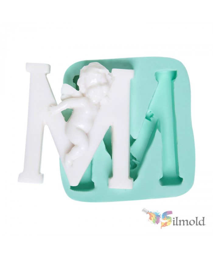 Letter ''M'' with an Angel (big) Silicone Mold