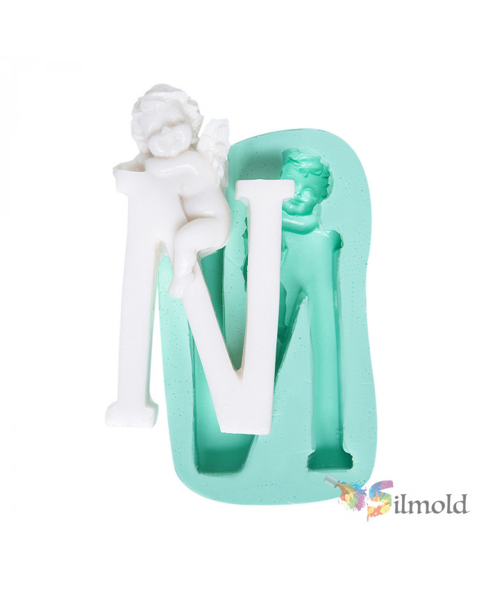 Letter ''N'' with an Angel (big) Silicone Mold