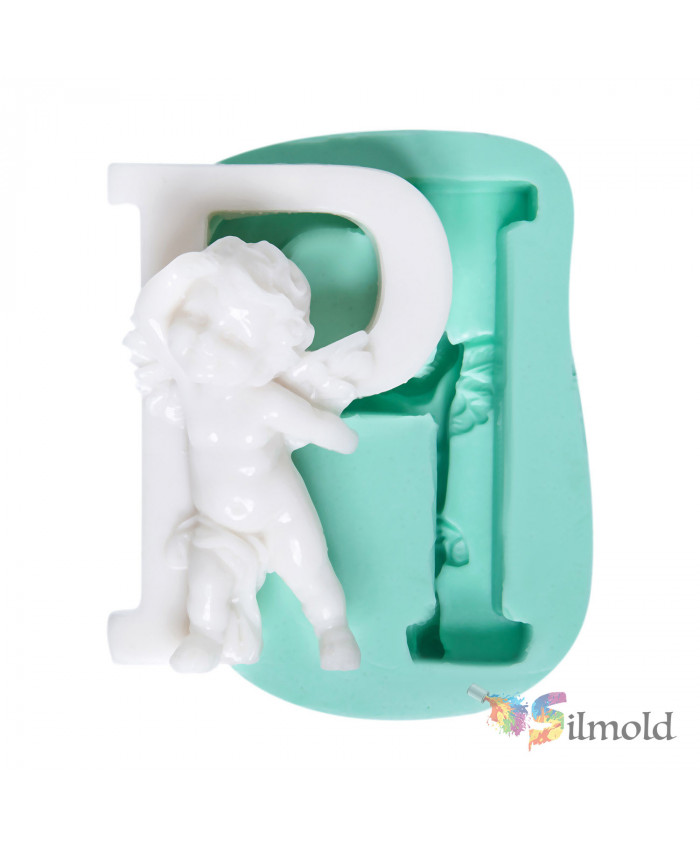 Letter ''P'' with an Angel (big) Silicone Mold