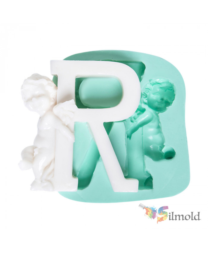 Letter ''R'' with an Angel (big) Silicone Mold