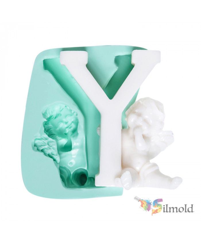 Letter ''Y'' with an Angel (big) Silicone Mold