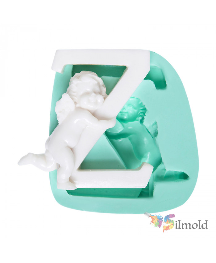 Letter ''Z'' with an Angel (big) Silicone Mold