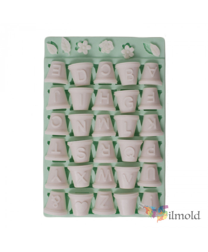 Letters on Flowerpots with Flowers Silicone Mold