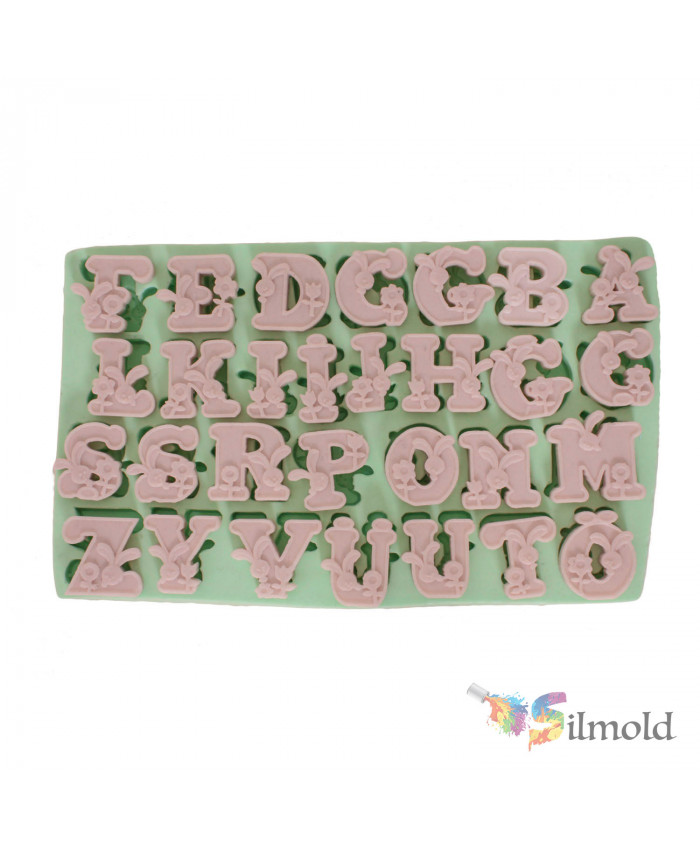 Letters with Rabbits Silicone Mold