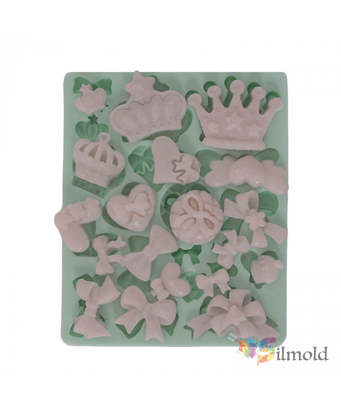 Little Crown and Different Types of Bowties Silicone Mold