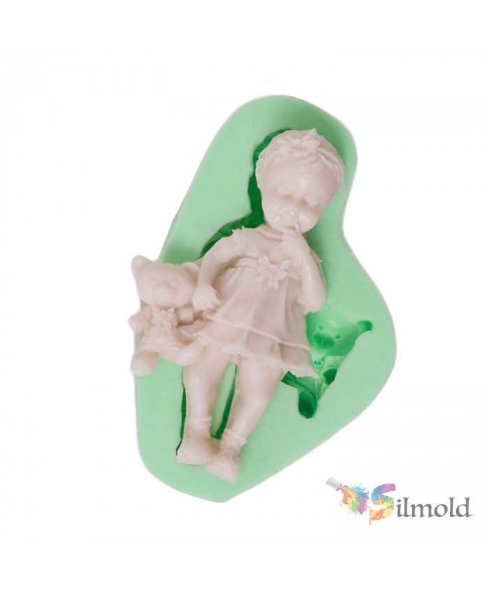 Little Girl with her Teddy Bear Silicone Mold