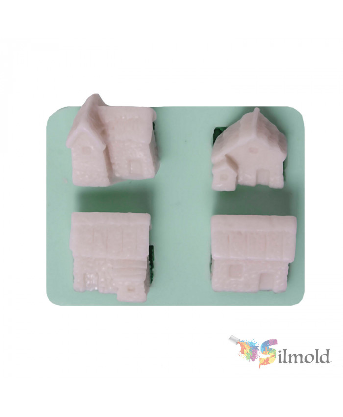 Little Houses (quad) Silicone Mold