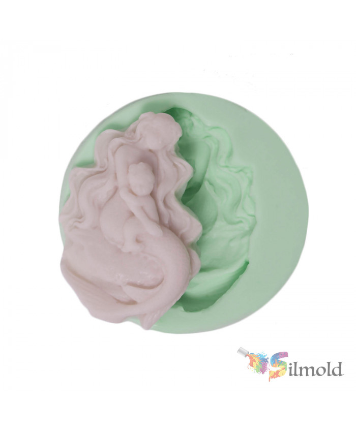 Mermaid with its Baby Silicone Mold