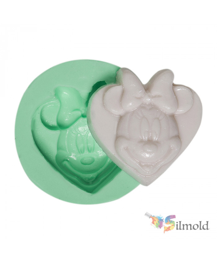 Minnie Mouse on a Heart Silicone Mold