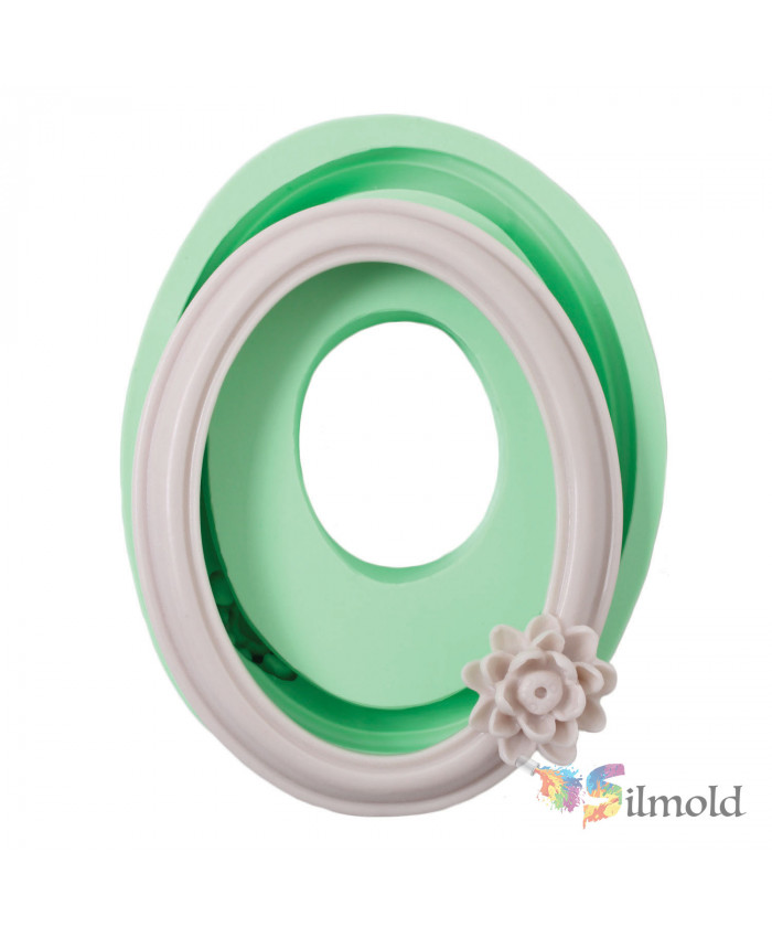 Oval Frame with a Flower Silicone Mold