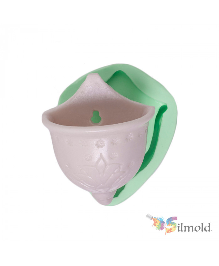 Patterned Flowerpot ( to hang on a Wall) Silicone Mold