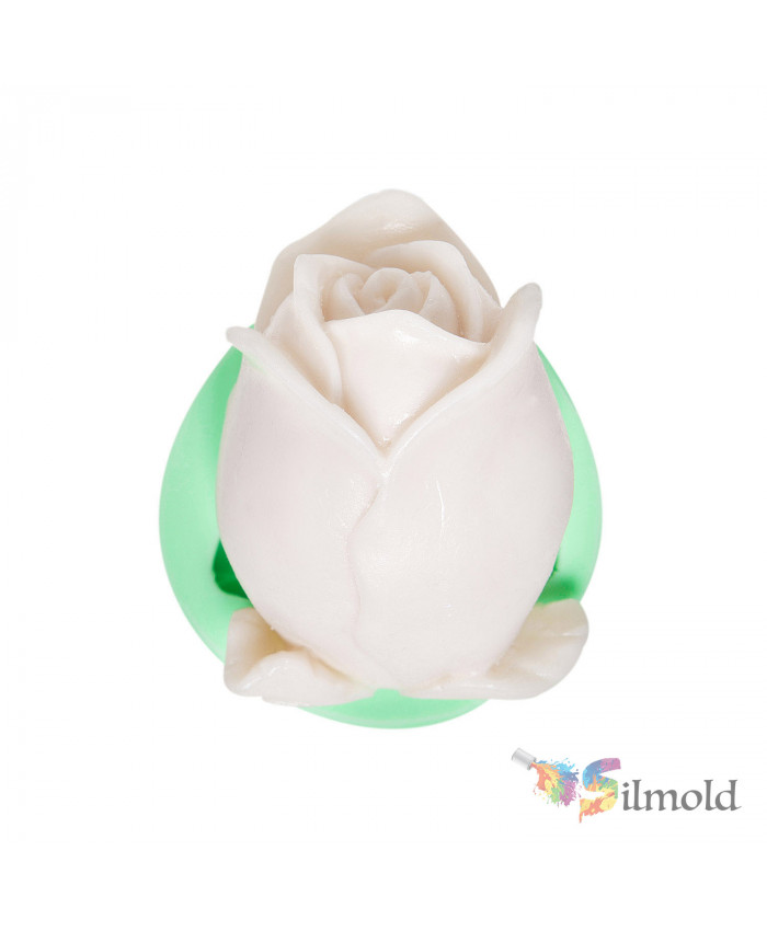 Rose Bud with Leaves Silicone Mold