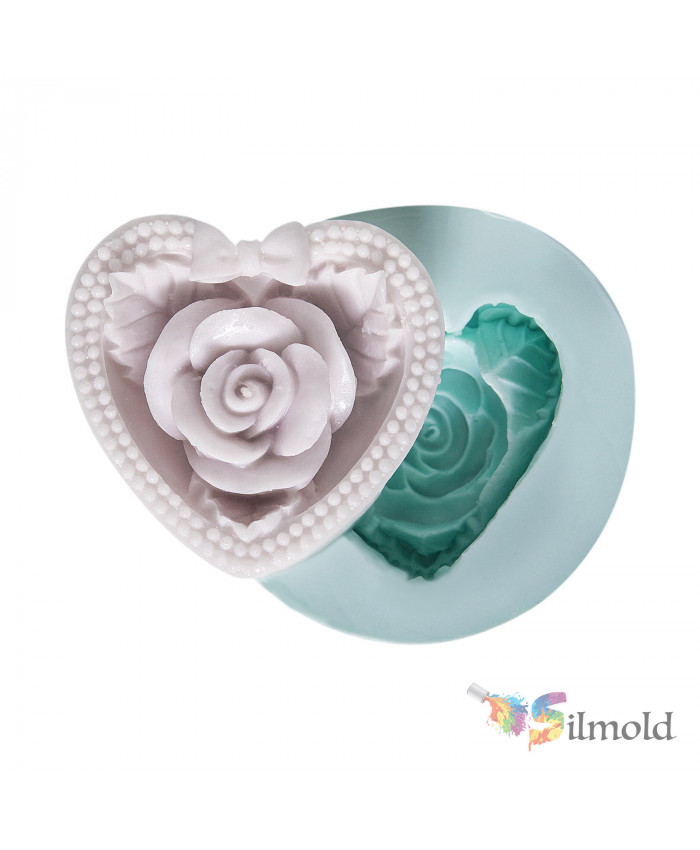 Rosy Heart with Bowtie Silicone Mold