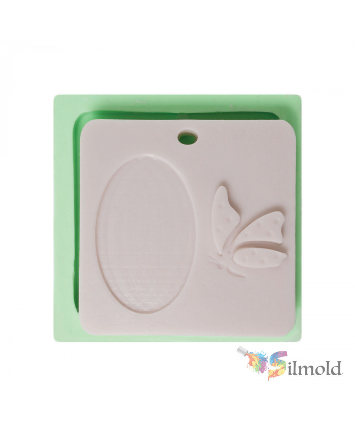 Square Plaque with a Butterfly (perforated) Silicone Mold
